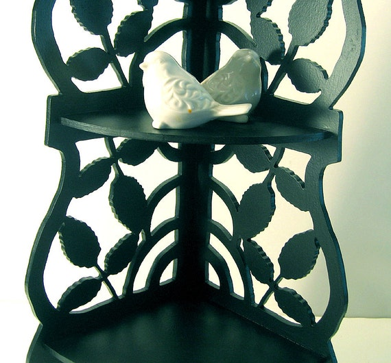 Vintage Wood Corner Curio Shelf Black Leaf 3 Tier