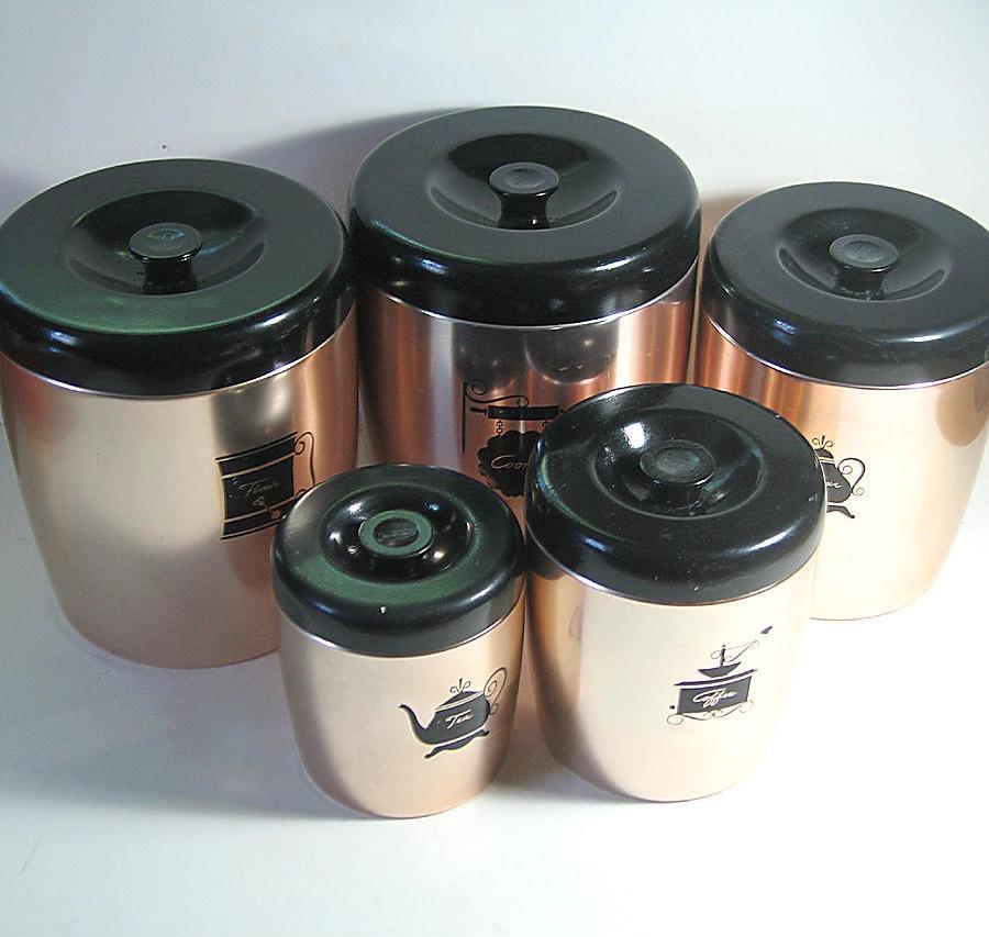 west bend metal canister set vintage kitchen by flabbyrabbit