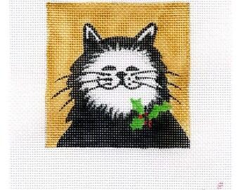 Black Cat Small Square Needlepoint  - Jody Designs   B9A