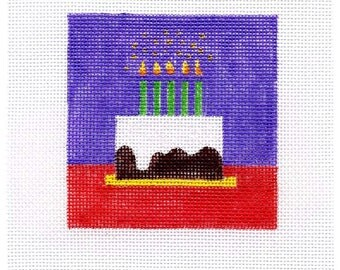 Birthday Cake Small Square Needlepoint - Jody Designs  B27A
