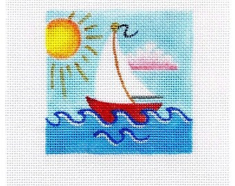 Sailboat Small Square Needlepoint - Jody Designs   B35