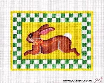 Bunny with Green checks Needlepoint (Small size) - Jody Designs
