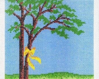 Yellow Ribbon Square Needlepoint - Jody Designs - Limited Edition