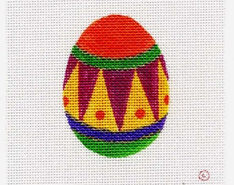 Small Needlepoint Egg - Jody Designs   Orange top