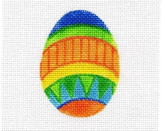 Small Needlepoint Egg - Jody Designs   Blue top