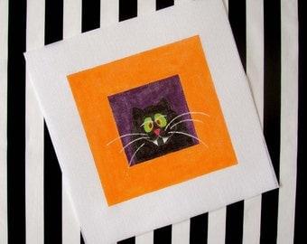Black Cat   7 x7 Square Needlepoint  - Jody Designs    SB2