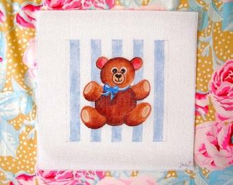 Teddy Bear in Blue Needlepoint  7 x7  Square - Jody Designs         S15