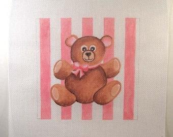 Teddy Bear in Pink   7 x7  Needlepoint Square - Jody Designs   S16
