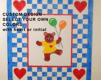 Custom Colors-  1 Bear Needlepoint Canvas - Jody Designs
