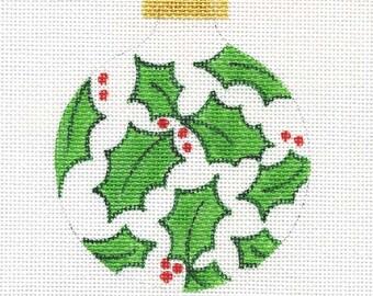 Holly Needlepoint Ornament - Jody Designs    B2C Holly white background