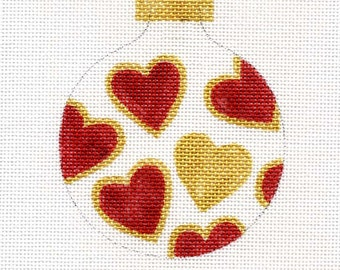 Red and Gold Hearts Needlepoint Ornament - Jody Designs B5B