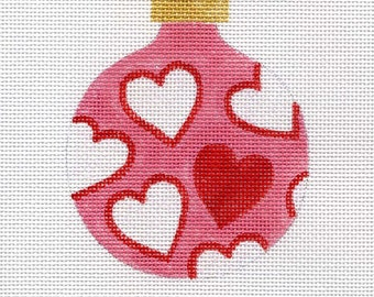 Red and White Hearts with Pink Background Needlepoint Ornament - Jody Designs  B5D