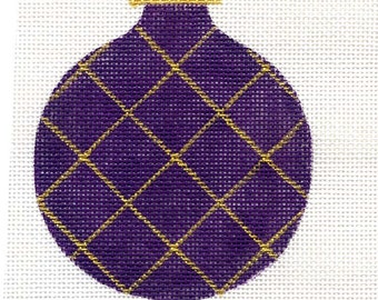 Gold Harlequin on Purple Needlepoint Ornament with stars and gold beads - Jody Designs  B6D