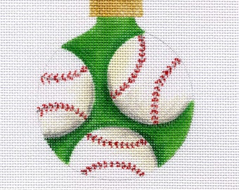 Three Baseballs Needlepoint Ornament - Jody Designs B127