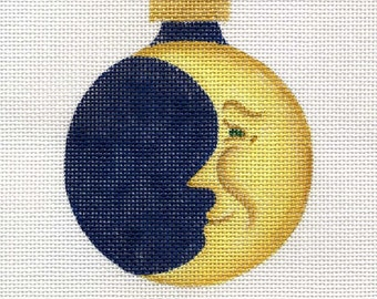 Moon with gold sequin stars Needlepoint Ornament - Jody Designs  B40