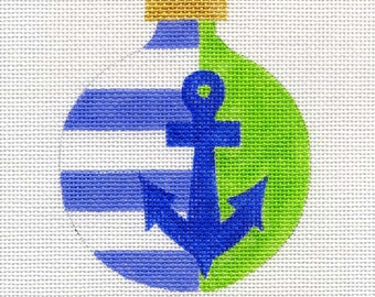 Anchor with Stripes in blue Needlepoint Ornament - Jody Designs  A35B blue