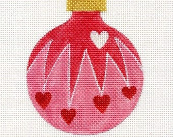 Hearts Cascading Needlepoint Ornament - Jody Designs      B12A  pink