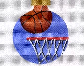 Basketball and Hoop Needlepoint Ornament - Jody Designs     B136