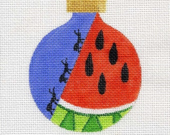 Watermelon and Ants Needlepoint Ornament - Jody Designs B18