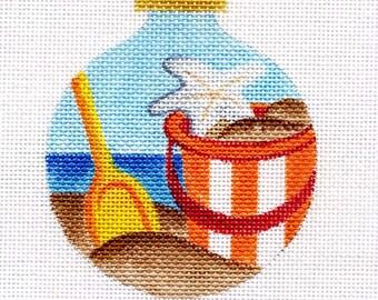 Beach Pail and Starfish Needlepoint Ornament - Jody Designs     B8-01