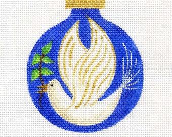Peace Dove Needlepoint Ornament      B80A  Peace dove/blue