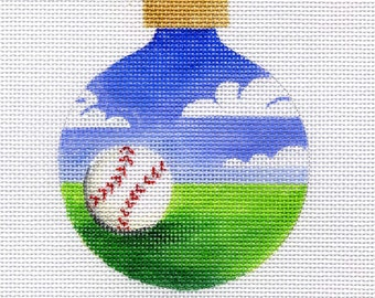Baseball In the Field Needlepoint ornament - Jody Designs      B128  Baseball in the field
