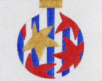 Red Stars/ blue stripes Needlepoint Ornament - Jody Designs  B7M