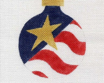 Flag and Star Needlepoint Ornament - Jody Designs   B46