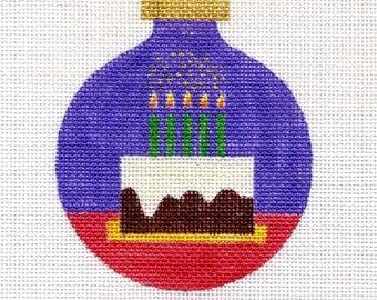 Birthday Cake Needlepoint Ornament - Jody Designs B27Apurple