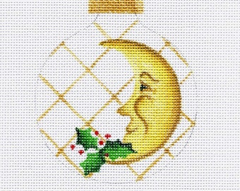 Harlequin Christmas Moon with Holly Needlepoint Ornament - Jody Designs B164