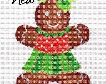 Gingerbread Christmas Girl Needlepoint Ornament   G1A  Jody Designs