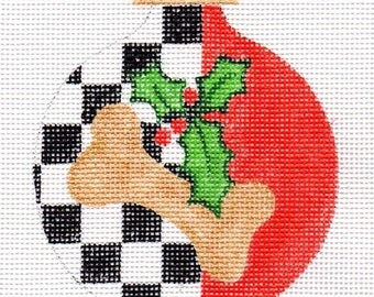Checkers Dog Needlepoint Ornament  - Jody Designs A26-cks Dog