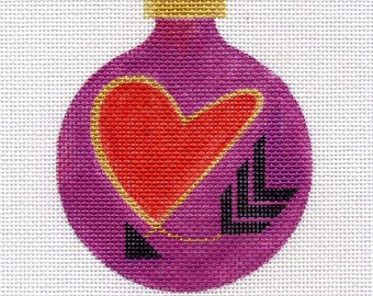 Red Heart and Arrow Needlepoint Ornament - Jody Designs   B2-01