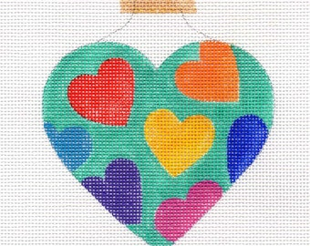 Happy Hearts Bright Turquoise Needlepoint Ornament - Jody Designs  H20C