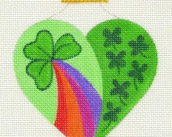 Heart Rainbow Shamrock Needlepoint Ornament - Jody Designs  H3