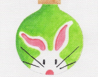 White Bunny Needlepoint Ornament - Jody Designs  WB1  green
