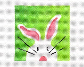 White Bunny Needlepoint Square - Jody Designs  - WB1 square green