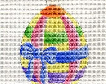 Pastel Ribbon Egg Needlepoint Ornament - Jody Designs B23