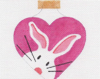 The White Bunny Heart Needlepoint Ornament - Jody Designs - WB2