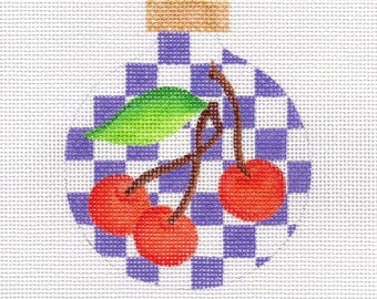 Cherries with Purple Checks Needlepoint Ornament - Jody Designs B219A