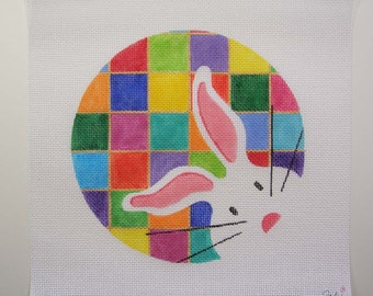 Large 8 inch Round Patchwork White Bunny Needlepoint - Jody Designs