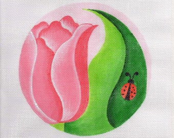 Pink Tulip with Ladybug Round Needlepoint - Jody Designs