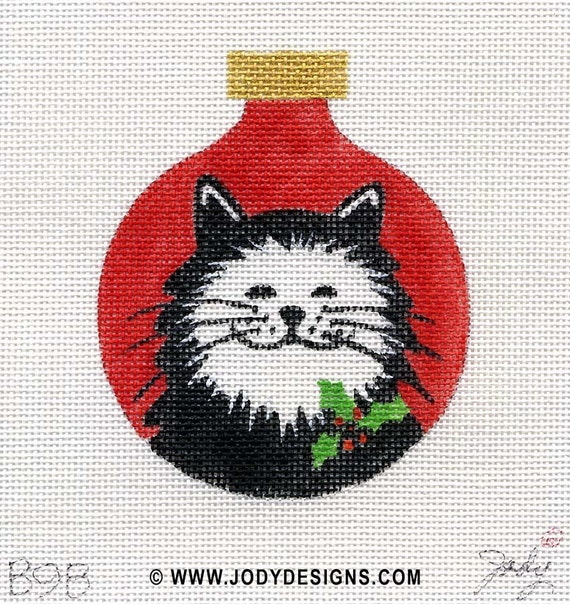 Cat with Holly/red Needlepoint ornament - Jody Designs  B9B