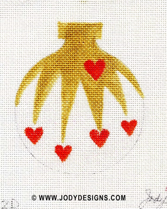 Cascading Hearts with white Needlepoint Ornament - Jody Designs B12D