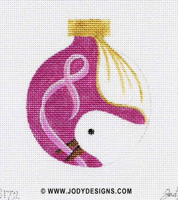 Dove with pink ribbon Needlepoint Ornament - Jody Designs   B172