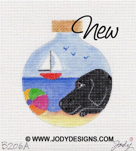Black Lab Needlepoint Ornament - Jody Designs     B206A  Happy at the Beach