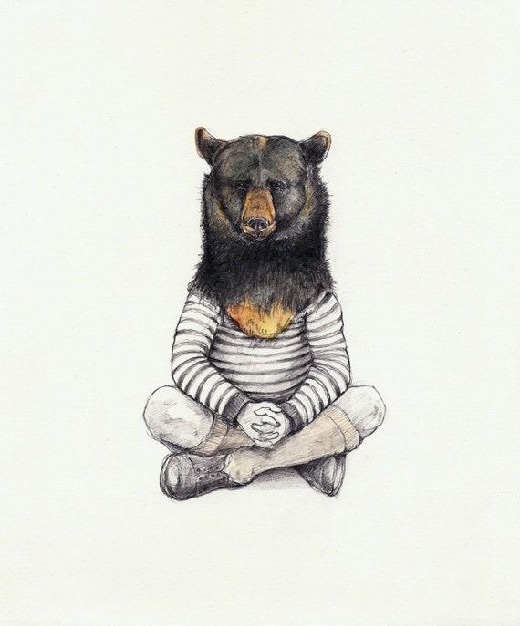 little bear (honey eater)- print