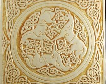 Decorative ceramic relief carved Celtic horse tile