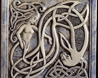 Handmade Celtic mermaid and seal ceramic tile
