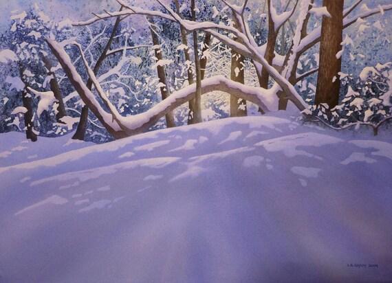 Watercolor Original, Winter Morning - Rhododendron
